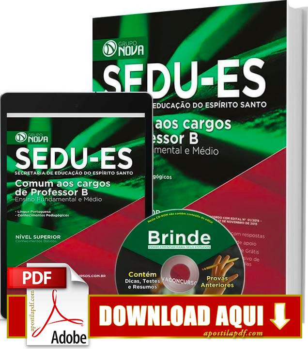 Apostila SEDU ES 2015 PDF Download Grátis Professor
