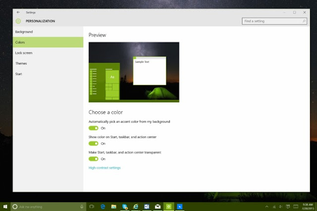 Sfondo, colori e menu' Start di Windows 10