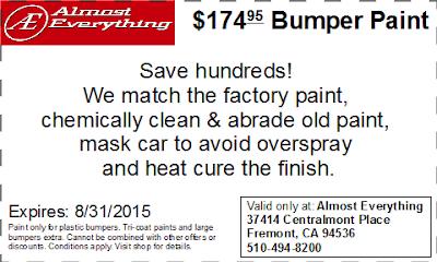 Discount Coupon $174.95 Bumper Paint Sale August 2015
