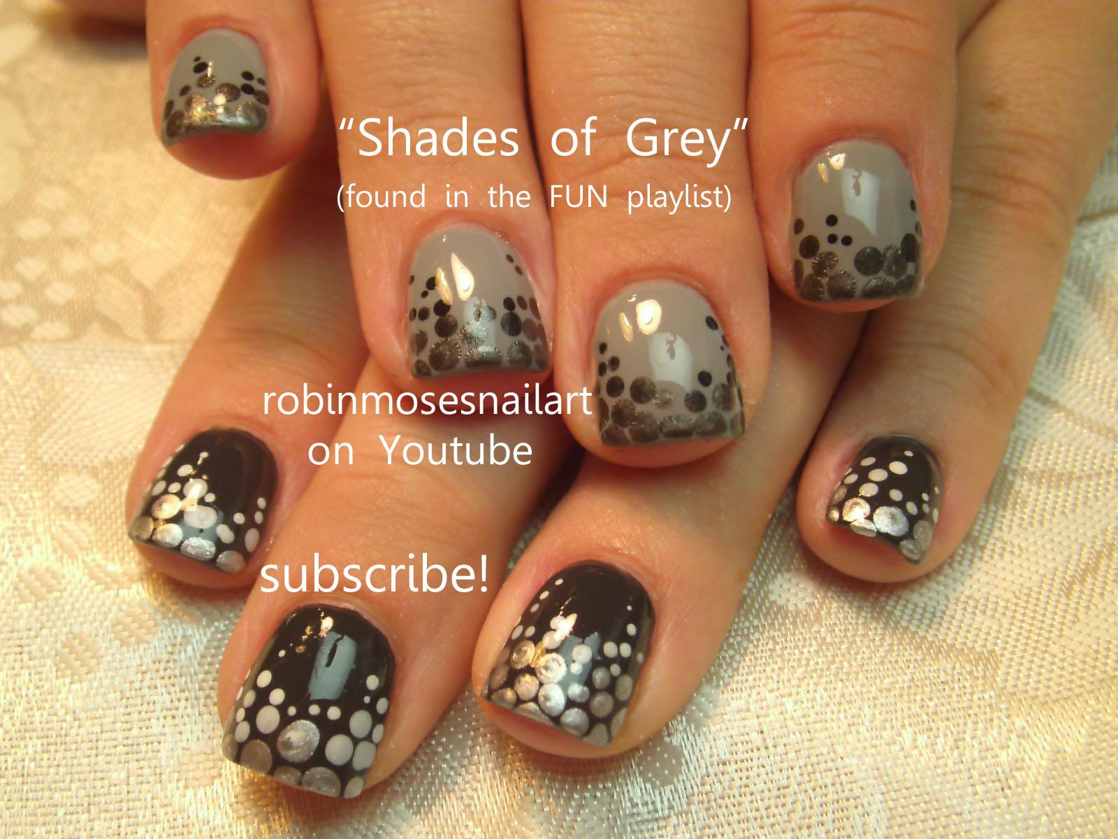 50 shades of Grey nail art, grey dots nail art, ombre grey nail ...