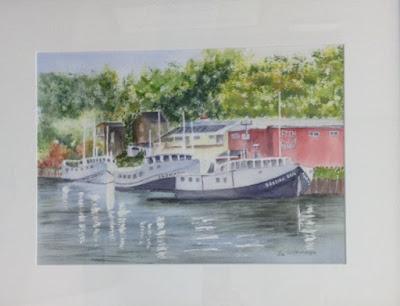 watercolour painting, Jacksons fish market, Port Stanley,Canadian art, Jo Wilkinson