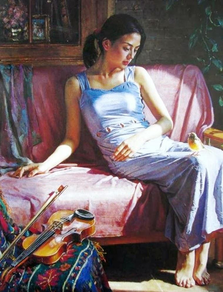 GUAN ZEJU ( Pintura) Pinturas-realistas-de-mujeres+(5)