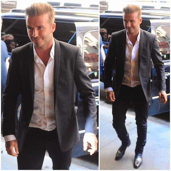 David Beckham wears Dior Homme tuxedo suit at 2014 New York Fashion Week