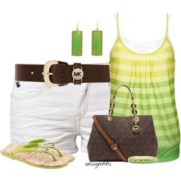 White shorts, green shirt, slippers and hand bag for ladies
