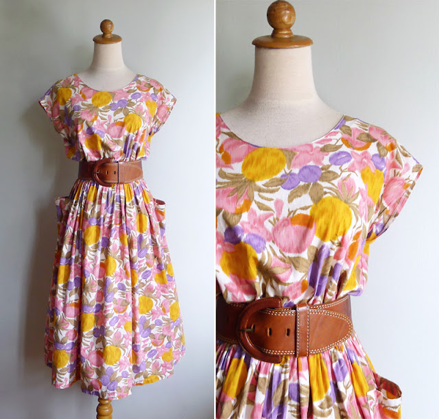 vintage 80's summer swing dress with apron pockets