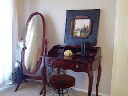 Cherry wood desk and mirror - Sold