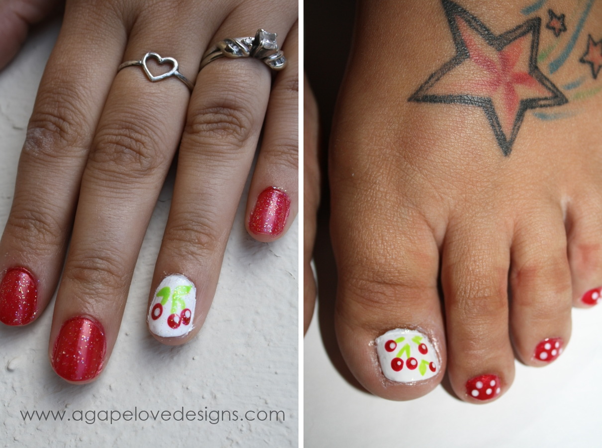 Agape love designs diy cherry nail art diy cherry nail art prinsesfo Image collections