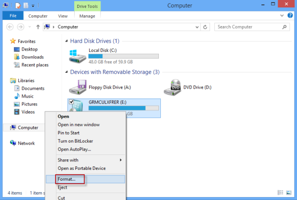 how to format to fat 32 usb win 7
