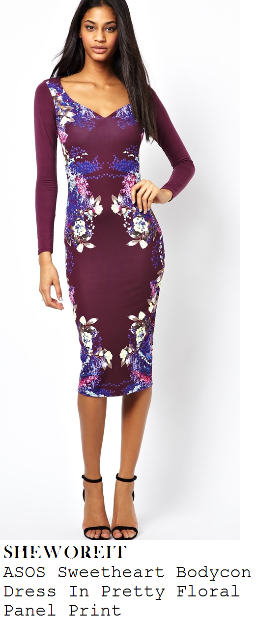 kimberley-walsh-purple-mirrored-floral-print-sweetheart-neckline-bodycon-dress-itv-studios