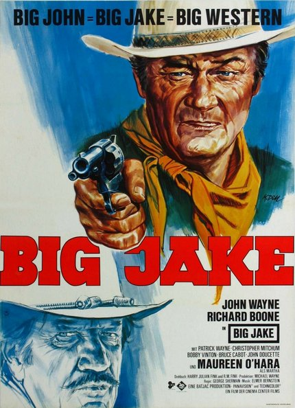 classic posters, free download, free printable, graphic design, movies, printables, retro prints, theater, vintage, vintage posters, vintage printables, western, Big Jake, John Wayne, Richard Boone - Vintage Western Cowboy Movie Printable Poster