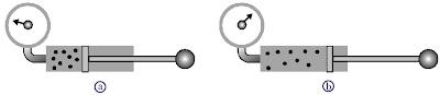 (a) Gas di dalam tabung memiliki volume V1 dan tekanan P1. (b) Volume gas di dalam tabung diperbesar menjadi V2 sehingga tekanannya P2 menjadi lebih kecil.