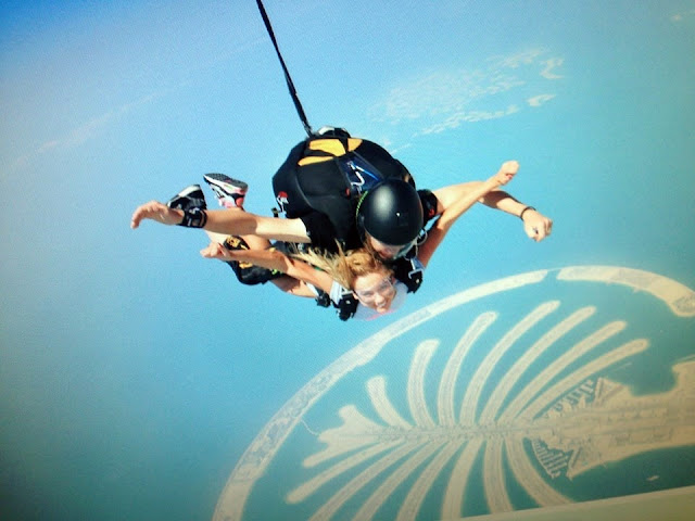 Adelina Tahiri sky diving in Dubai