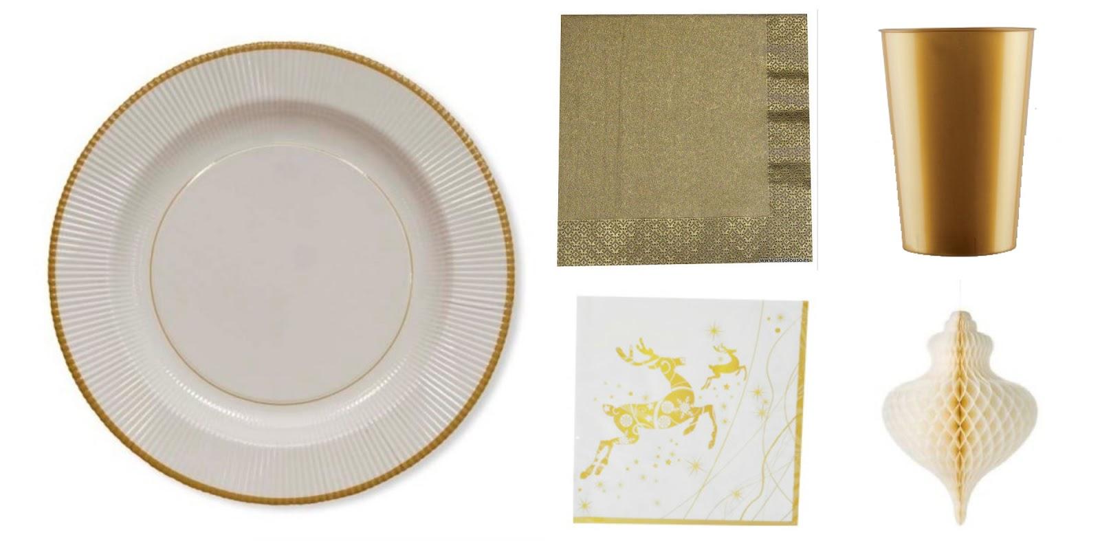 platos desechables para la mesa de navidad