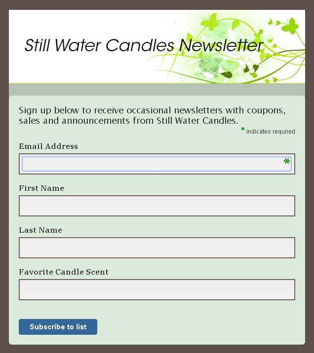 still water candles newsletter