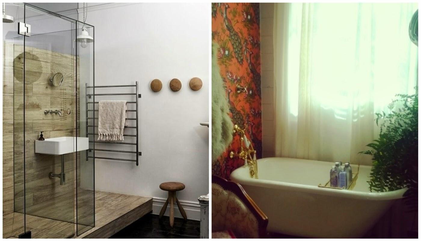 revestimento para banheiro que imita a madeira @interioresdesigndecoracao e banheiro retrô @liceudemaquiagem
