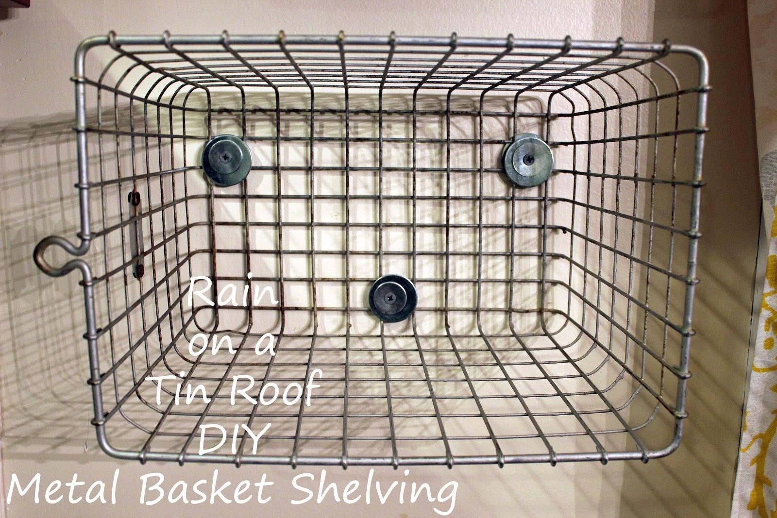 diy metal basket shelving with old locker baskets. Black Bedroom Furniture Sets. Home Design Ideas