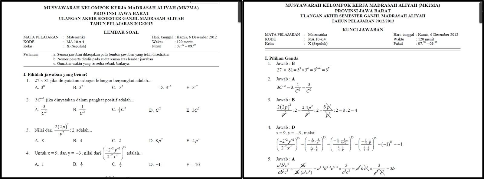 Soal dan Pembahasan UAS Matematika Kelas X SMA\/MAN 20122013 ~ GaemGyu Holic
