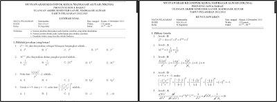 Soal dan Pembahasan UAS Matematika Kelas X SMA/MAN 2012-2013