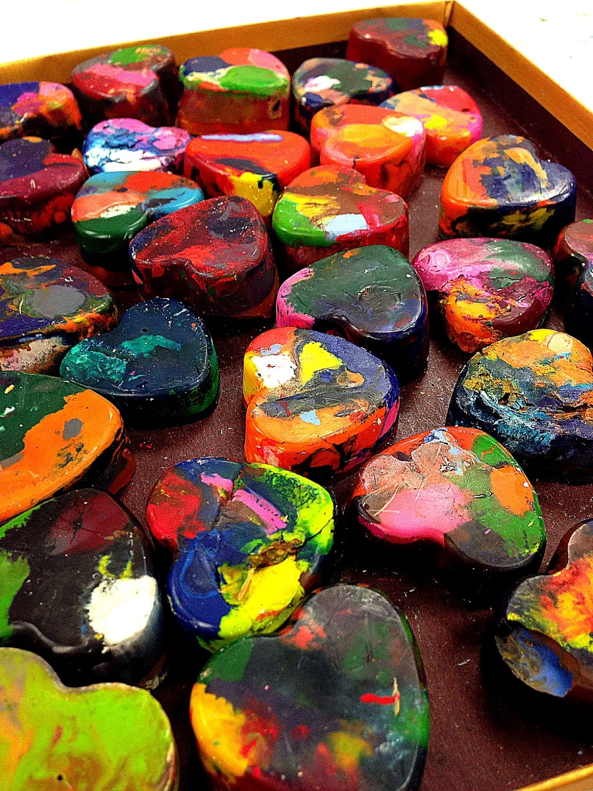 smART Class Paper Mache Easy button Rainbow Heart Crayons and
