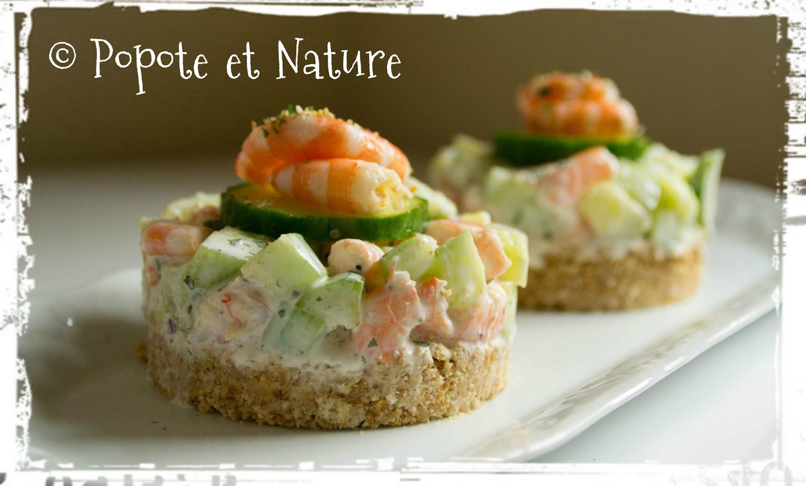 Popote et nature la crevette concombre qui se prenait pour un cheese cake - Comment presenter des crevettes en entree ...