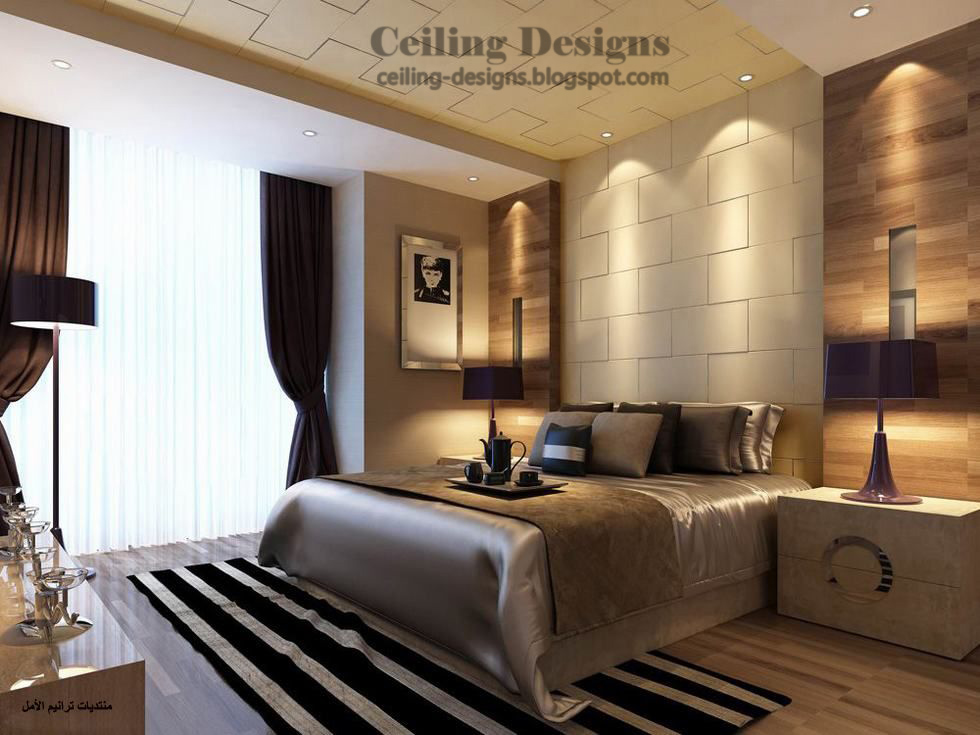 3 decorated gypsum ceiling designs for bedrooms for Bedroom bed decoration