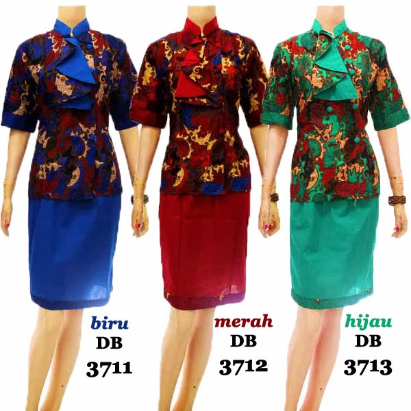 DB3711-3713 Mode Baju Dress Batik Modern Terbaru 2014