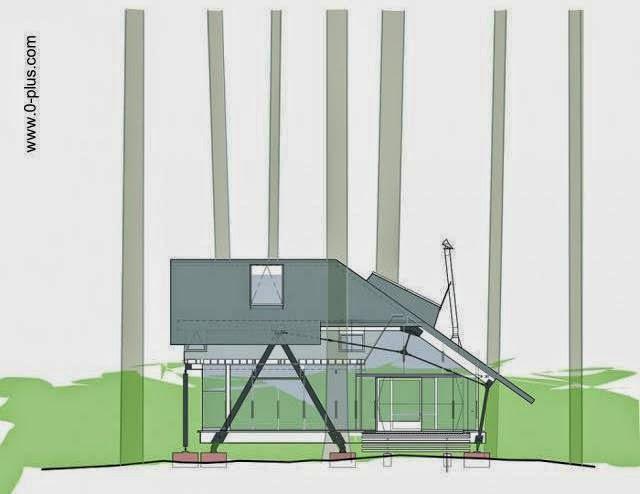 Plano de arquitectura alzada de la cabaña