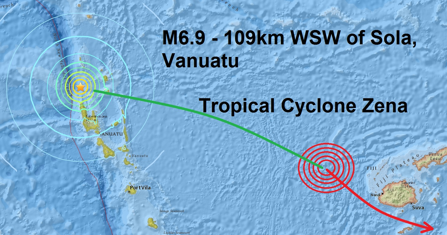 Coincidence? A magnitude 6.9 strikes Vanuatu where Tropical Cyclone Zena started yesterday and...