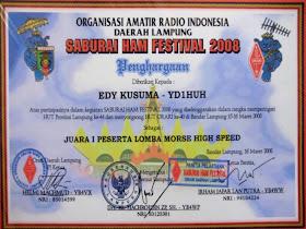 Piagam Pertama Lomba  High Speed, Saburai Hamfest 2008