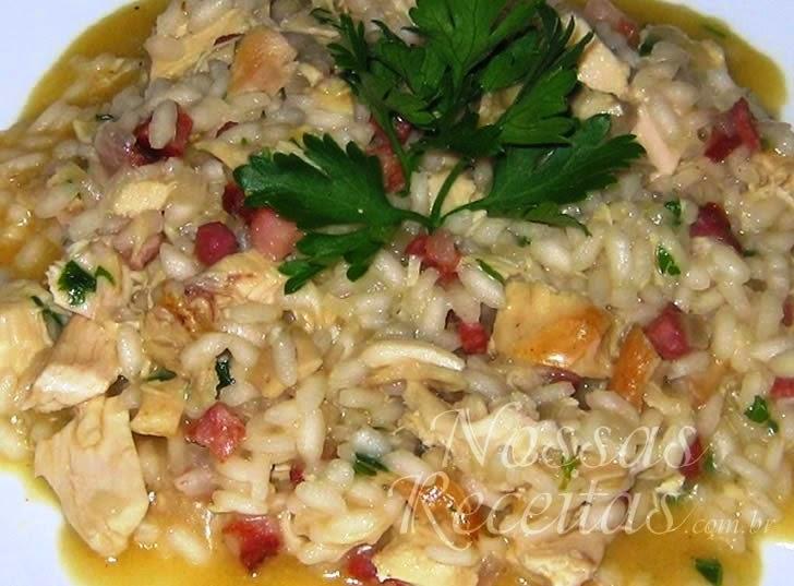 Receita de Risoto de frango com chouriço