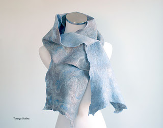 Blue Gray hand felted sacrf