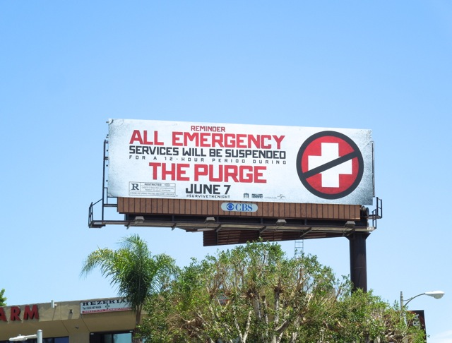 Purge emergency services suspended billboard