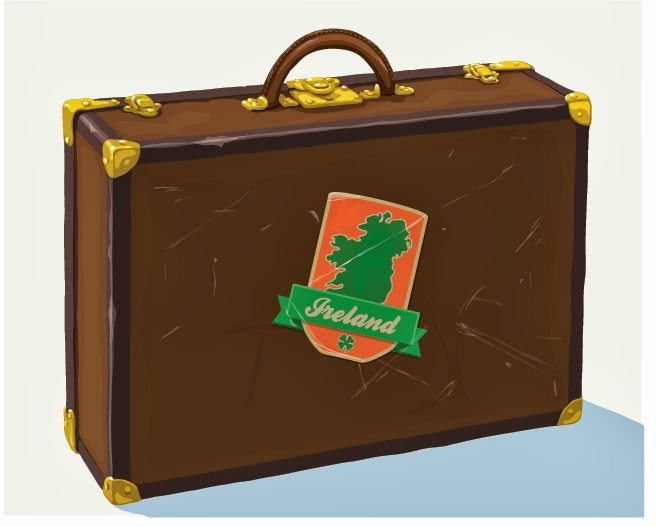 illustration of suitcase with Ireland sticker