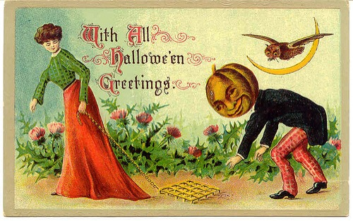 i cant even pretend to understand this card i think the thing she is dragging is used to determine where to plant seeds a proper space apart - Old Fashion Halloween