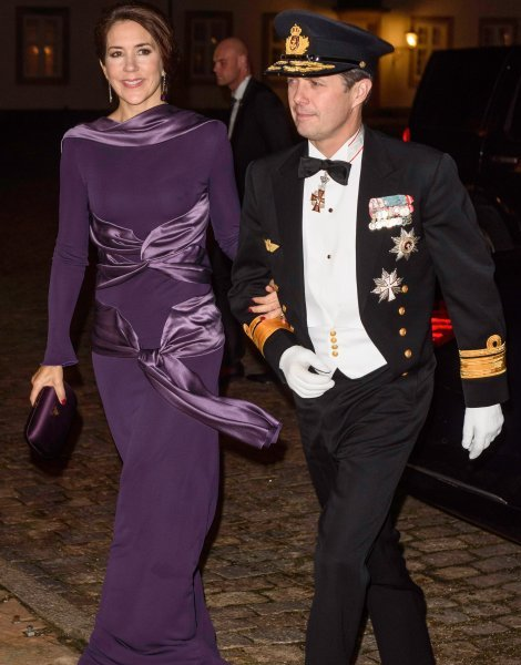 Crown Prince Frederik and Crown Princess Mary attend the Haederstegnsmiddag gala for the Navy officers at Fredensborg Castle