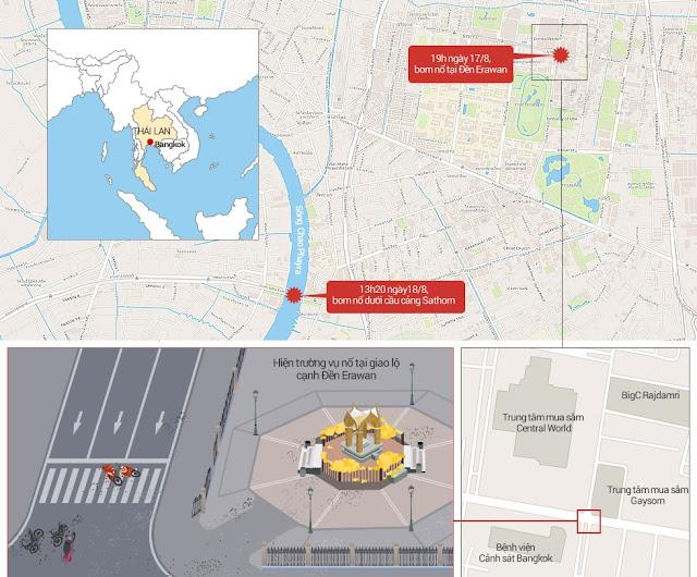 Vị trí các vụ nổ bom liên tiếp tại Bangkok