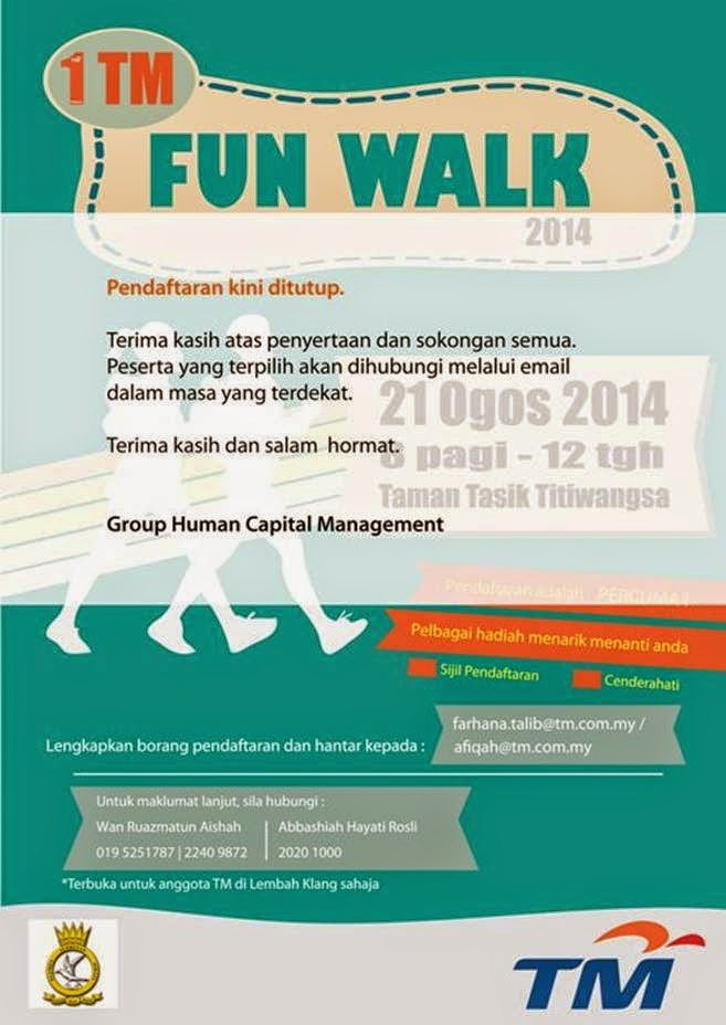 Pendaftaran 1TM Fun Walk 2014 kini ditutup. Terima kasih atas penyertaan dan sokongan semua!