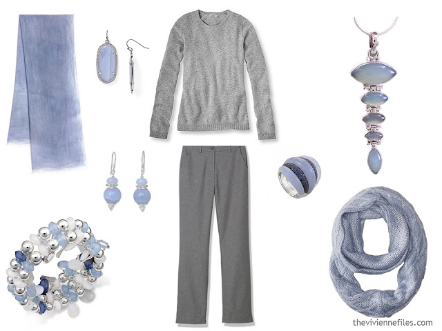 How to wear Pantone Color of the year 2016 Serenity with a grey outfit.