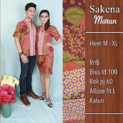 Baju Batik Pasangan Sakena Merah SP8092