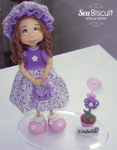 menina, linda, lilás, vestido, tecido, flor