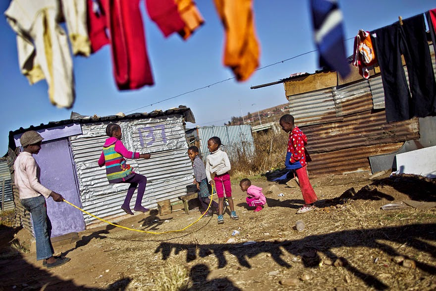 Skipping a rope in the Soweto township