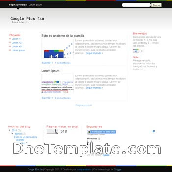 Google Plus Fan blogger template. blogspot template google plus