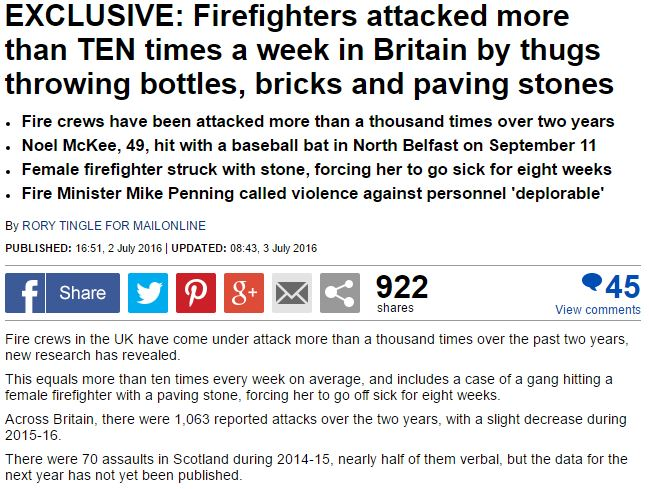 Firefighter assaults exclusive