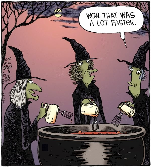 funny witches blender brew cartoon