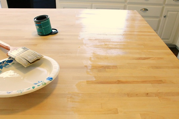steps to seal butcher block island #ikea #polyurethane #clever_nest
