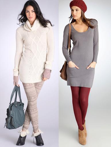 бял пуловер и сива плетена рокля