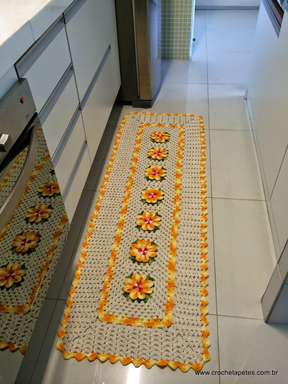 Tapetes Com Flores Margarida Rasteira Croche Com Br -> Tapete De Tecido Para Cozinha