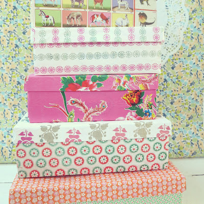 ByHaafner, upcycled shoeboxes, storage, pastel, paper, decoration