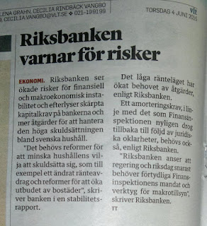 """""""Riksbanken anser att regering och riksdag snarast behöver förtydliga Finansinspektionens mandat och verktyg för makrotillsyn."""""""