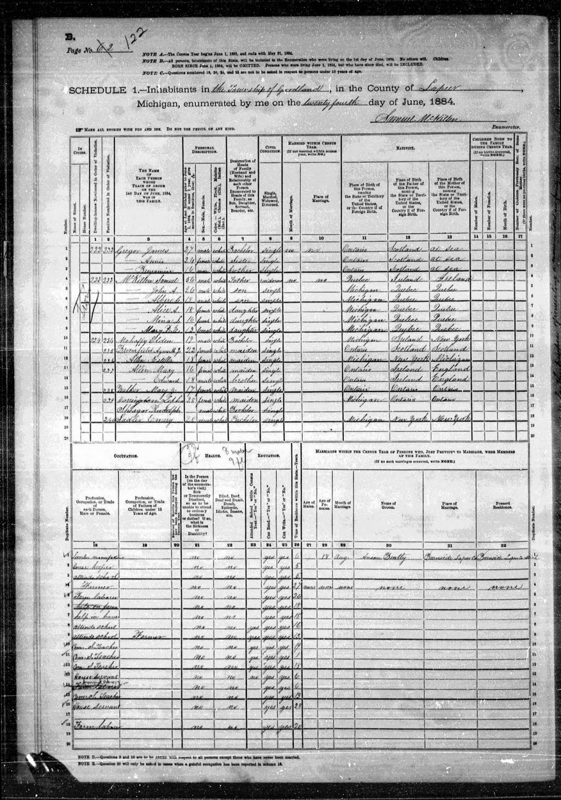 Climbing my Family Tree: 1884 Michigan State Census (Goodland twp. Lapeer County, MI), found at SeekingMichigan.org